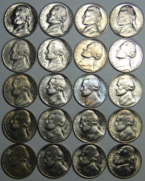 1970-1979 P D S Jefferson Nickel complete BU and Proofs Set-30 coins in all!