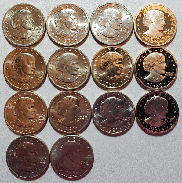 Susan B Anthony Coins Set Uncirculated & Proofs- 14 coins!