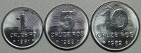 1981-82 Brazil 1-5-10 Cruzeiros BU Set- Lot 1