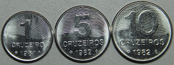 1981-82 Brazil 1-5-10 Cruzeiros BU Set- Lot 3