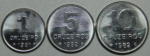 1981-82 Brazil 1-5-10 Cruzeiros BU Set- Lot 4