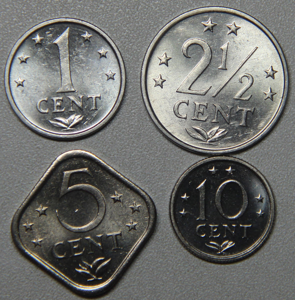 1981 Netherlands Antilles 1-21/2-5-10 Cents 4-Coin BU Set