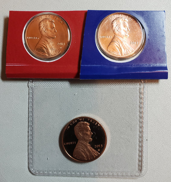 2013 P D S Lincoln Shield Cent Set From US Mint Sets