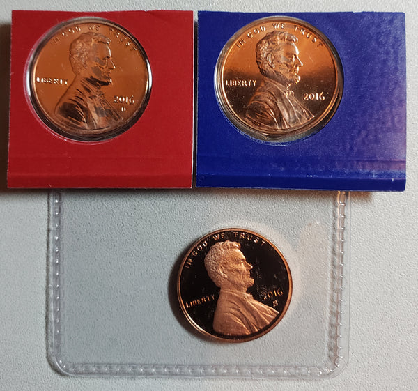 2016 P D S Lincoln Shield Cent Set-From US Mint Sets