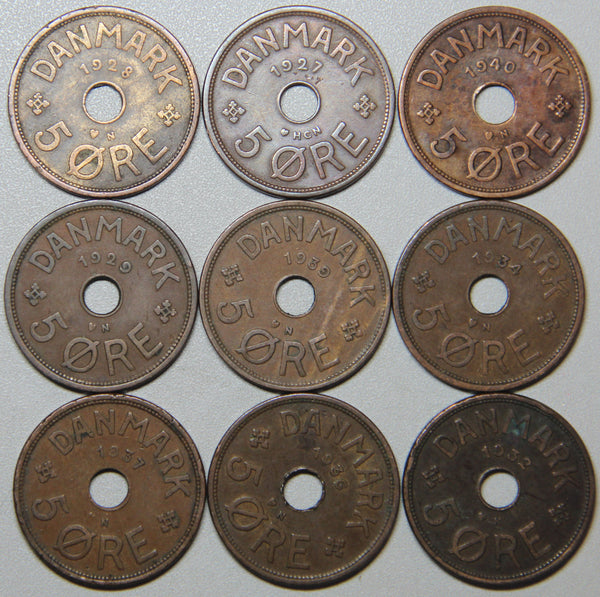 1927-1940 Denmark 5 Ore-9 coin set Lot 1