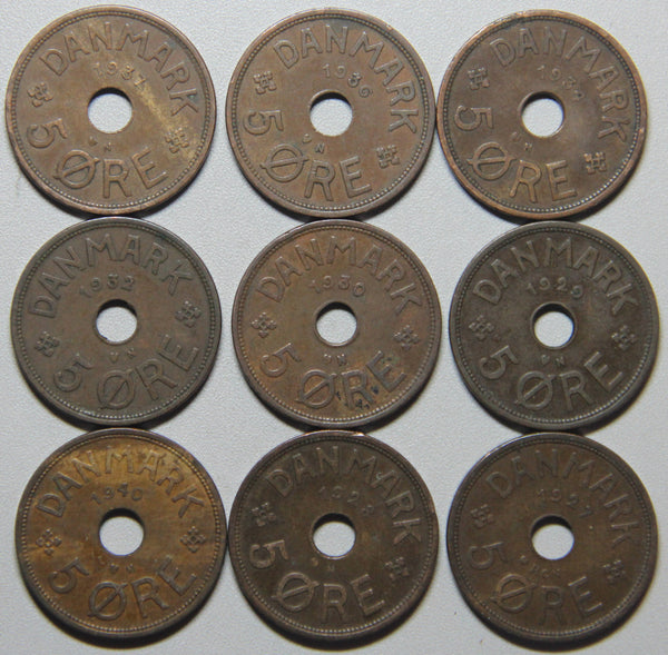 1927-1940 Denmark 5 Ore-9 coin set Lot 2
