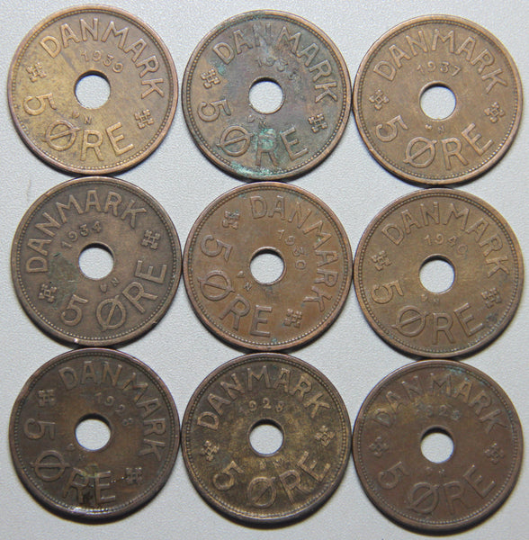 1927-1940 Denmark 9 coin set Lot 3