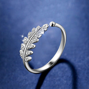 Open Leafly Jeweled Ring