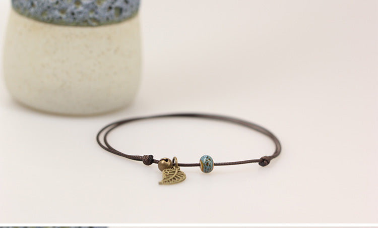 Simple Ceramic Leaf Anklet