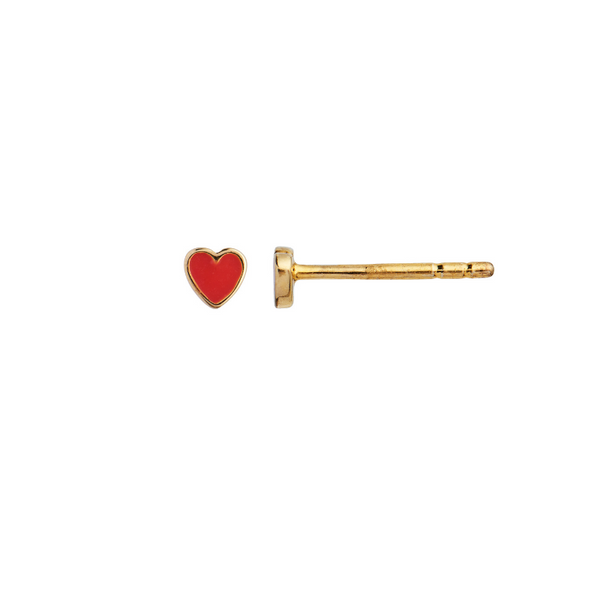 Single Petit Love Heart Rød/guld