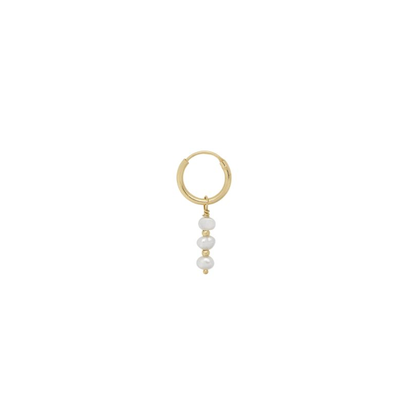 Image of   Anna + Nina - Single Pearly hoop ørering guld