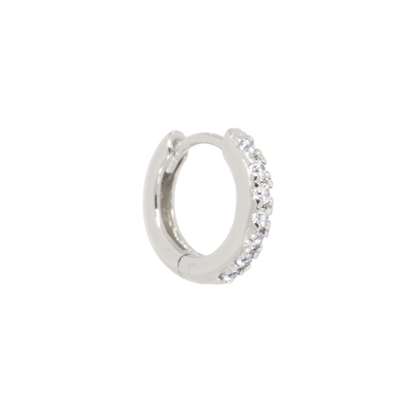 Single Classic Zirconia Huggie Hoop Sølv 15 mm