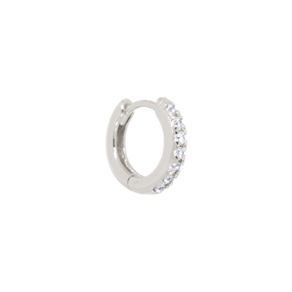 Single zirconia huggie hoop Sølv