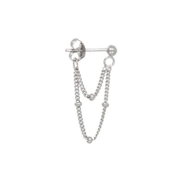 Single Two chain øreringe sølv