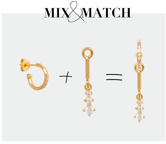 Mix and Match zirconia øreringe sølv