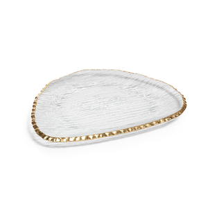 Clear Textured Organic Shape Plate Gold