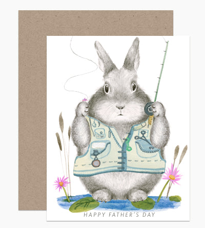 Happy Father's Day Fishing Bunny Card