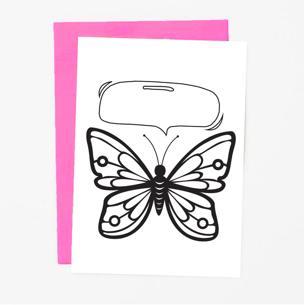 Butterfly Coloring Greeting Card