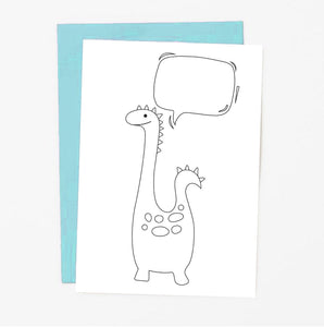Dinosaur Coloring Greeting Card