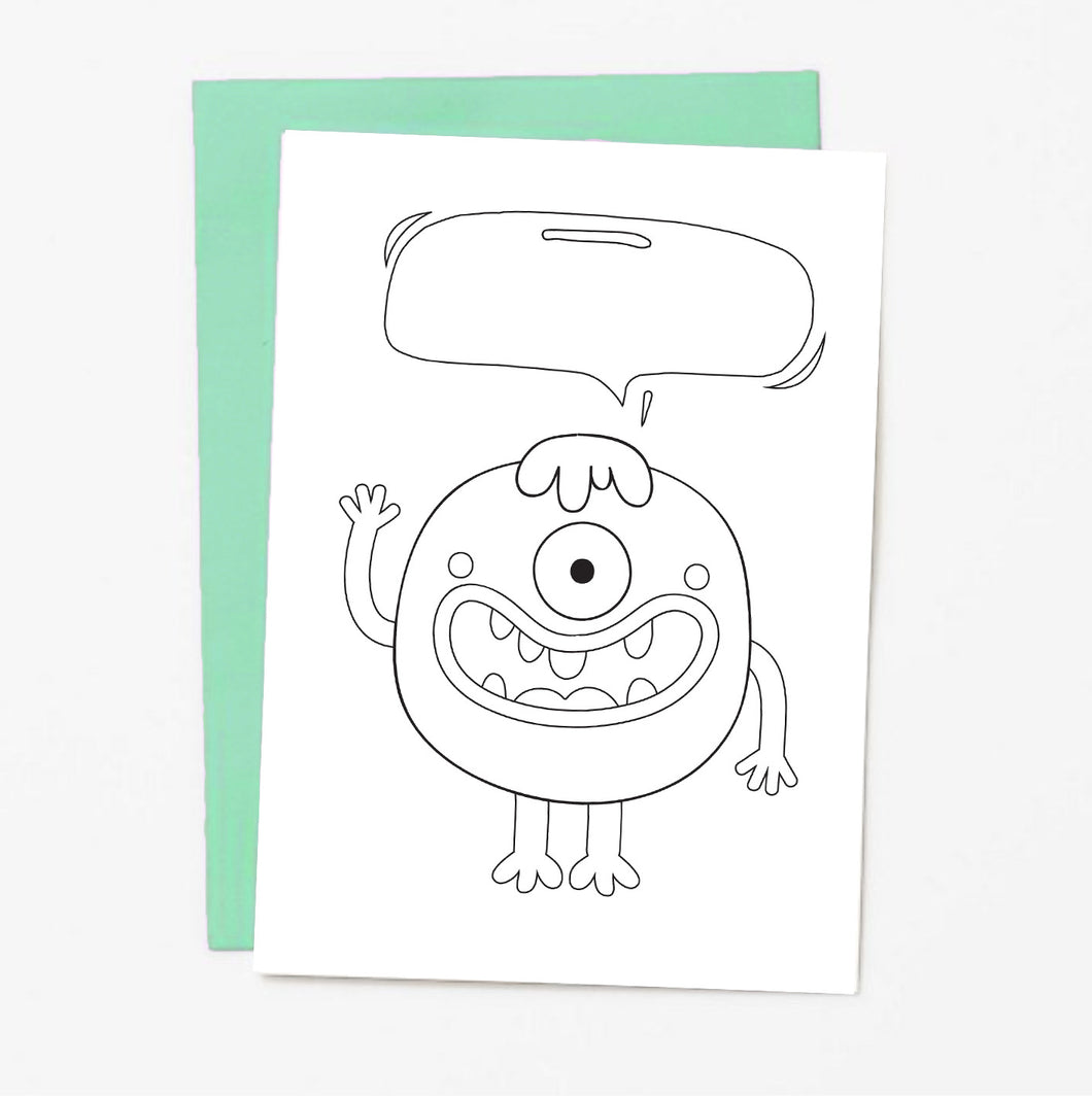Monster Coloring Greeting Card