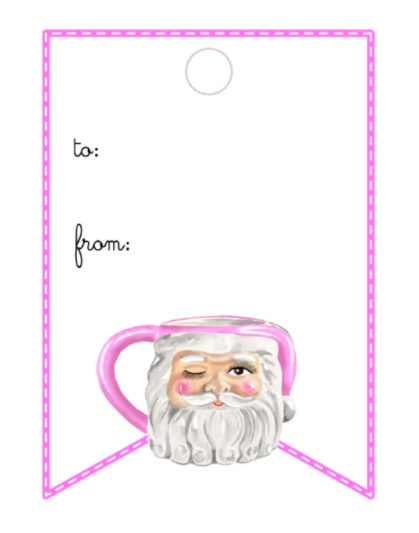 Winking Santa Mug - Writeable Gift Tag (clear)