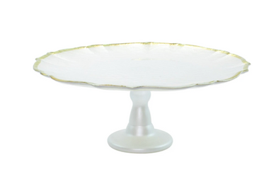 White Baroque Glass Cake Stand
