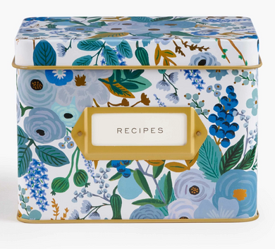 Garden Party Blue Recipe Box