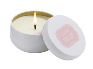 Peony Blush Candle in White Tin