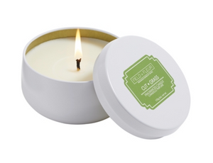 Cut Grass Candle in White Tin