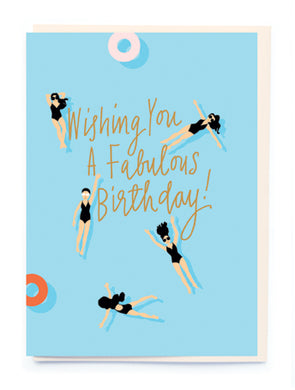 Swimming Girls Birthday Card