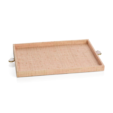 Blush Raffia Tray - Large