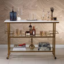 Porto Servo Metal Bar Cart with Marble Top