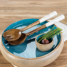 Load image into Gallery viewer, Aqua Blue Mango Wood Round Platter