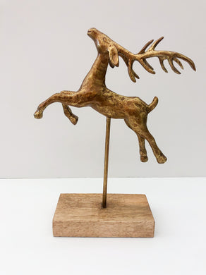 Gold Leaping Reindeer on Stand-small