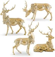 Antique Gold Resin Deer