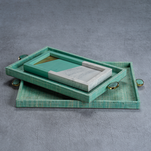 Load image into Gallery viewer, Turquoise Raffia Tray - Large