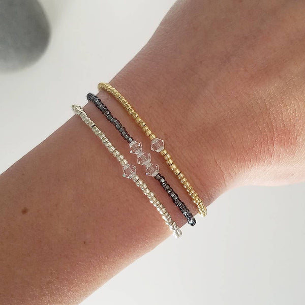 Choose your Crystal Color: Gold Mother Bracelet