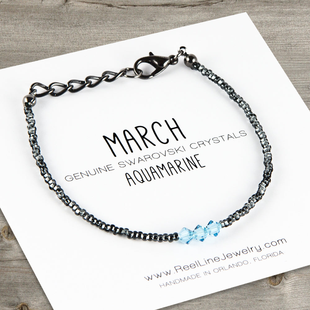 Birthstone Bracelet, Swarovski Crystal, March Aquamarine