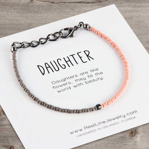 Split Color Minimalist Daughter Bracelet