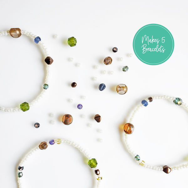 DIY Bracelet Kit - Makes 5 Stretch Bracelets. Free Shipping USA. Earth Colors.