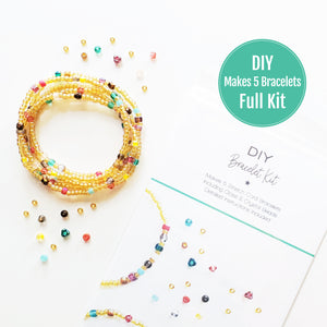 DIY Bracelet Kit - Makes 5 Stretch Bracelets. Free Shipping USA. Endless Summer.