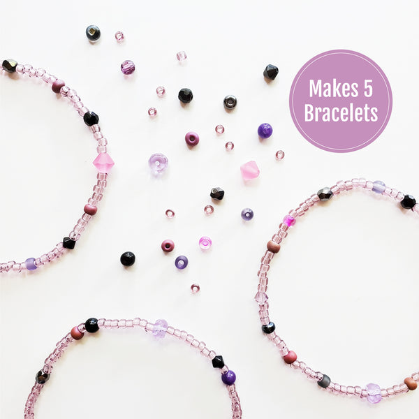 DIY Bracelet Kit - Makes 5 Stretch Bracelets. Free Shipping USA. Fairytale.