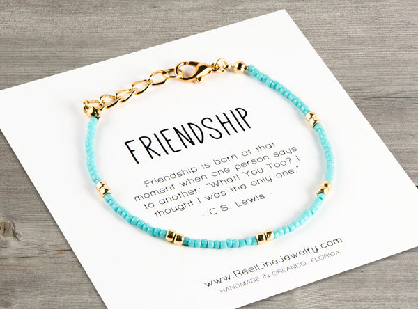 Choose Your Message: Gold Boho Friendship Bracelet