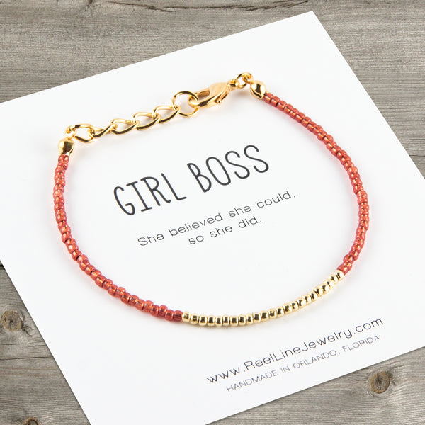Minimalist Gold Girl Boss Bracelet