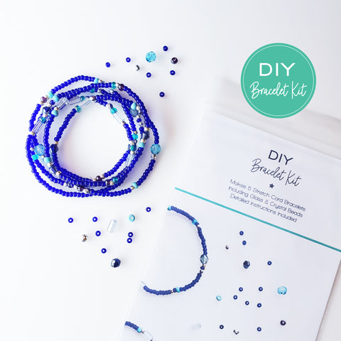 DIY Bracelet Kit - Makes 5 Stretch Bracelets. Free Shipping USA. Marine Blue.