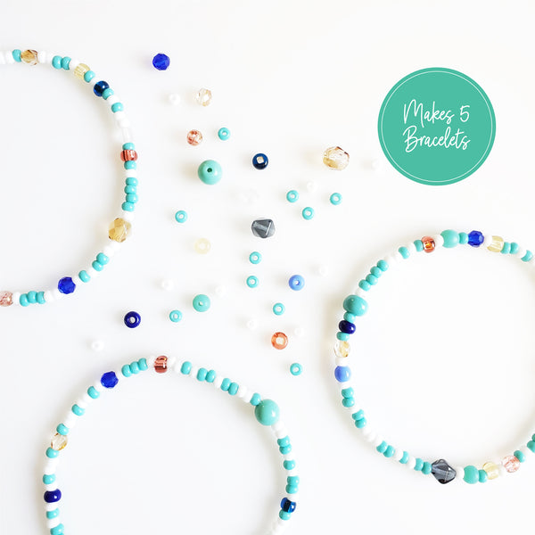 DIY Bracelet Kit - Makes 5 Stretch Bracelets. Free Shipping USA. Ocean Colors.