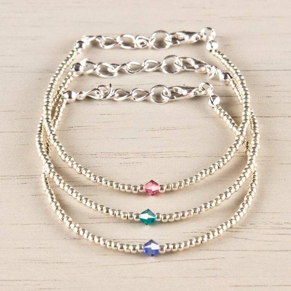 Choose your Crystal Color: Silver Friendship Bracelet
