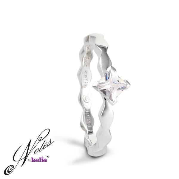 Classic Cubic Fancy Fierce Stacking Ring Sterling Silver Notes by Halia