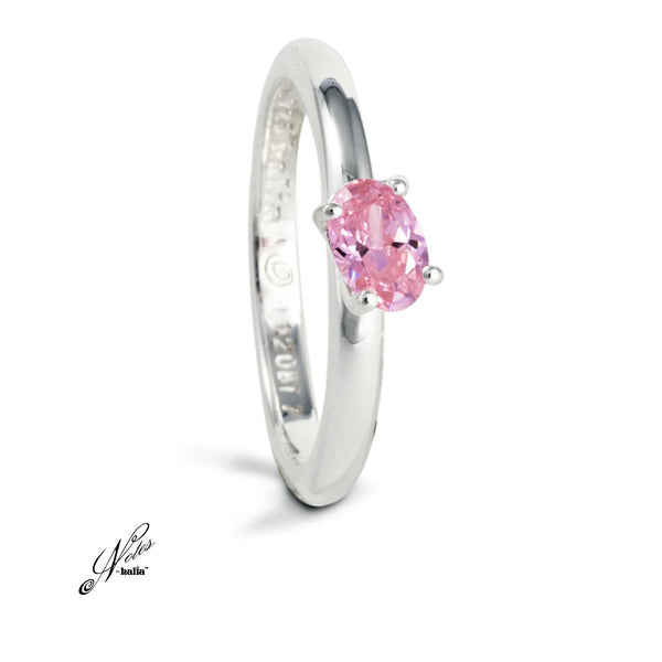 Pink Cubic Delish Stacking Ring Sterling Silver Notes by Halia