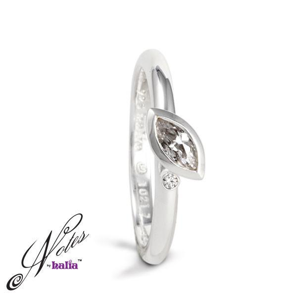 Cubic Dewdrop Stacking Ring Sterling Silver Notes by Halia